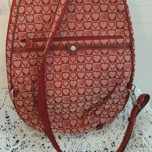 Brighton Bags - Brighton Red Leather Signature Print Backpack